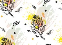 Χέρι - γίνοντα γραφικό αφηρημένο floral άνευ ραφής σχέδιο με τη σύνθεση των λουλουδιών protea στα χρώματα κρητιδογραφιών στο λευκ Στοκ εικόνα με δικαίωμα ελεύθερης χρήσης