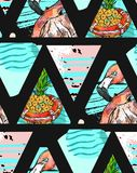 Χέρι - γίνοντα εξωτικό άνευ ραφής σχέδιο με τα τροπικά φύλλα, τον ανανά και το ρόδινο φλαμίγκο αφηρημένο σε γεωμετρικό που απομον Στοκ εικόνες με δικαίωμα ελεύθερης χρήσης