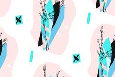 Χέρι - γίνοντα διανυσματικό αφηρημένο κατασκευασμένο καθιερώνον τη μόδα δημιουργικό κολάζ άνευ ραφής σχέδιο στα tiffany μπλε χρώμ Στοκ εικόνες με δικαίωμα ελεύθερης χρήσης