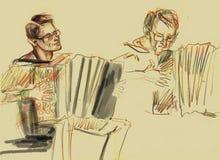 Χέρι - γίνοντα σκίτσο της παίζοντας μουσικής ακορντεονιστών στο μολύβι σκηνών σε χαρτί ελεύθερη απεικόνιση δικαιώματος