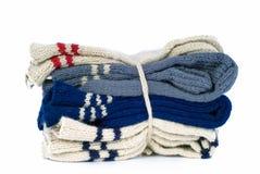 χέρι - γίνοντες κάλτσες πακέτων μάλλινες Στοκ Φωτογραφίες