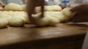 Χέρι - γίνοντη ζύμη ψωμιού να κόψουν και διαμορφωμένος στους ρόλους ψωμιού απόθεμα βίντεο