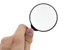 χέρι γυαλιού που κρατά την ανθρώπινη ενίσχυση Στοκ εικόνες με δικαίωμα ελεύθερης χρήσης