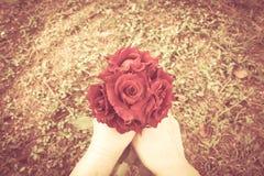 Χέρι γυναίκας που κρατά την κόκκινη ανθοδέσμη τριαντάφυλλων με το υπόβαθρο χλόης Στοκ Εικόνες