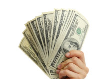 Χέρι γυναικών με τους λογαριασμούς 100 δολαρίων Στοκ Εικόνες