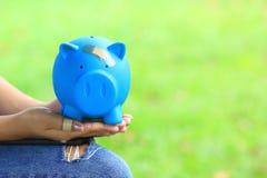 Χέρι γυναικών που κρατά μπλε piggy συνδεμένο με το ασβεστοκονίαμα στο επικεφαλής φυσικό πράσινο υπόβαθρο, εκτός από τα χρήματα γι στοκ εικόνες