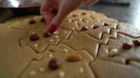 Χέρι γυναικών που προσθέτει τα καρύδια στα ακατέργαστα μπισκότα που κόβονται με μορφή κινηματογράφησης σε πρώτο πλάνο χριστουγενν απόθεμα βίντεο