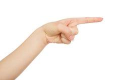Χέρι γυναικών ` s που δείχνει στο αντικείμενο με το αντίχειρα, συγκομιδή, διακοπή στοκ φωτογραφία με δικαίωμα ελεύθερης χρήσης