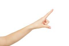 Χέρι γυναικών ` s που δείχνει στο αντικείμενο με το δείκτη, συγκομιδή, διακοπή στοκ φωτογραφίες