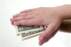 χέρι δολαρίων κάτω Στοκ Φωτογραφίες