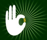 χέρι δολαρίων διανυσματική απεικόνιση