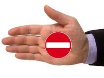 χέρι εισόδων κανένα σημάδι Στοκ εικόνες με δικαίωμα ελεύθερης χρήσης
