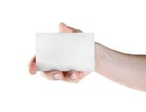 χέρι επαγγελματικών καρτών Στοκ εικόνες με δικαίωμα ελεύθερης χρήσης
