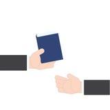 Χέρι επιχειρηματιών που δίνει τον οδηγό ιδέας βιβλίων από το χέρι στο χέρι στο άσπρο υπόβαθρο, διανυσματική απεικόνιση Στοκ Εικόνες