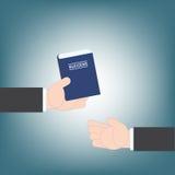 Χέρι επιχειρηματιών που δίνει τον οδηγό ιδέας επιτυχίας βιβλίων από το χέρι στο χέρι, διανυσματική απεικόνιση Στοκ Εικόνα