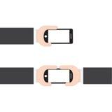 Χέρι επιχειρηματιών που κρατά το κινητό τηλέφωνο στο άσπρο υπόβαθρο, διανυσματική απεικόνιση στο επίπεδο ύφος σχεδίου Στοκ Εικόνες