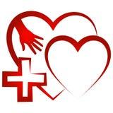 Χέρι Ερυθρών Σταυρών με το εικονίδιο καρδιών διανυσματική απεικόνιση