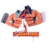 Χέρι ευθυμιών με το χτύπημα του τροχαίου ατυχήματος όπως ένα γυαλί μπύρας ή οινοπνεύματος ατύχημα από το ποτό και την κίνηση φορέ απεικόνιση αποθεμάτων