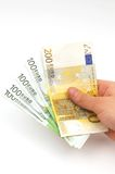 χέρι ευρώ στοκ φωτογραφίες