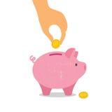 Χέρι κάτω από ένα νόμισμα στη piggy τράπεζα επίσης corel σύρετε το διάνυσμα απεικόνισης Στοκ φωτογραφία με δικαίωμα ελεύθερης χρήσης