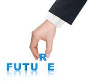 Χέρι και μέλλον λέξης Στοκ Εικόνα