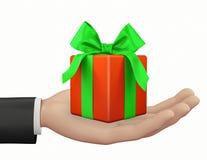 χέρι και μικρό κιβώτιο-δώρο διανυσματική απεικόνιση