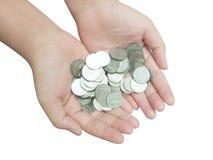 Χέρι και νόμισμα Στοκ φωτογραφία με δικαίωμα ελεύθερης χρήσης