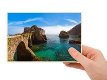 Χέρι και οχυρό στο νησί Berlenga - Πορτογαλία η φωτογραφία μου Στοκ φωτογραφία με δικαίωμα ελεύθερης χρήσης
