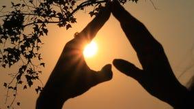 Χέρι και ο ήλιος απόθεμα βίντεο
