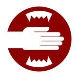 Χέρι και σαρκοφάγα δόντια Κόκκινο προειδοποιητικό σημάδι σαγονιών Μην βάλτε yo Απεικόνιση αποθεμάτων