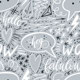 Χέρι καλλιγραφίας που γράφει το άνευ ραφής σχέδιο Θετικά σημάδια, αστέρι, καρδιά, λεκτικές φυσαλίδες, γεωμετρικές μορφές Τελειοπο στοκ εικόνες