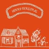 Χέρι καρτών Χριστουγέννων που σύρεται Στοκ εικόνα με δικαίωμα ελεύθερης χρήσης