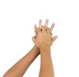 Χέρι κατάρτισης ενίσχυσης Cpr που απομονώνεται στο άσπρο υπόβαθρο Στοκ Φωτογραφία