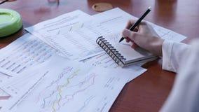 Χέρι κινηματογραφήσεων σε πρώτο πλάνο του businesspeople με την αναθεώρηση οικονομικές στατιστικές απόθεμα βίντεο