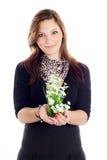 χέρι κοριτσιών λουλουδ&i Στοκ Εικόνες