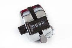 Χέρι - κρατημένος μετρητής ελέγχου στο λευκό στοκ εικόνες με δικαίωμα ελεύθερης χρήσης