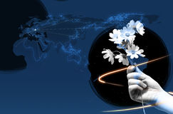 χέρι λουλουδιών δικοί τ&omic Στοκ Εικόνα