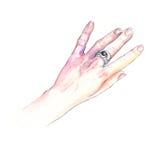 Χέρι με ένα δαχτυλίδι Στοκ Φωτογραφία