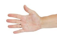 Χέρι με ένα δαχτυλίδι των ατόμων Στοκ Εικόνες