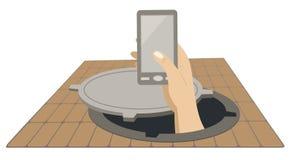Χέρι με ένα τηλέφωνο που αυξάνεται από την απεικόνιση έννοιας καταπακτών υπονόμων διανυσματική απεικόνιση