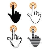 Χέρι με να αγγίξει ένα κουμπί Στοκ Εικόνες