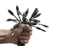 Χέρι με τα βουλώματα USB στοκ φωτογραφία με δικαίωμα ελεύθερης χρήσης