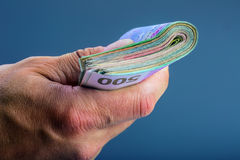 Χέρι με τα χρήματα Στοκ Εικόνες