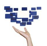 Χέρι με την μπλε διαπροσωπεία γυαλιού στοκ εικόνες