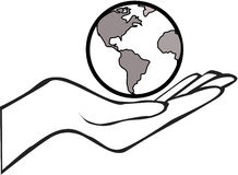 Χέρι με τη γη Στοκ Εικόνες