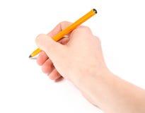 Χέρι με τη μάνδρα που γράφει σε ένα άσπρο υπόβαθρο Στοκ Φωτογραφίες