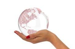 Χέρι με τον ψηφιακό κόσμο Στοκ εικόνα με δικαίωμα ελεύθερης χρήσης