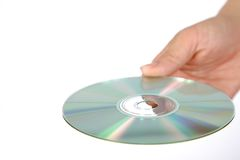 Χέρι με το δίσκο μέσων Στοκ εικόνες με δικαίωμα ελεύθερης χρήσης