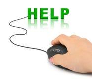 Χέρι με το ποντίκι υπολογιστών και τη βοήθεια λέξης στοκ εικόνα με δικαίωμα ελεύθερης χρήσης