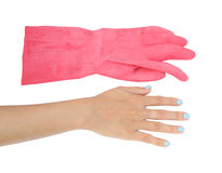 Χέρι με το προστατευτικό λαστιχένιο γάντι που απομονώνεται στο άσπρο υπόβαθρο Στοκ Εικόνα